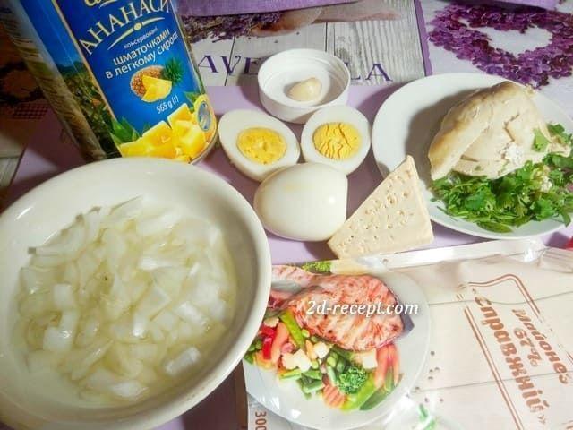 Продукты для салата с ананасом