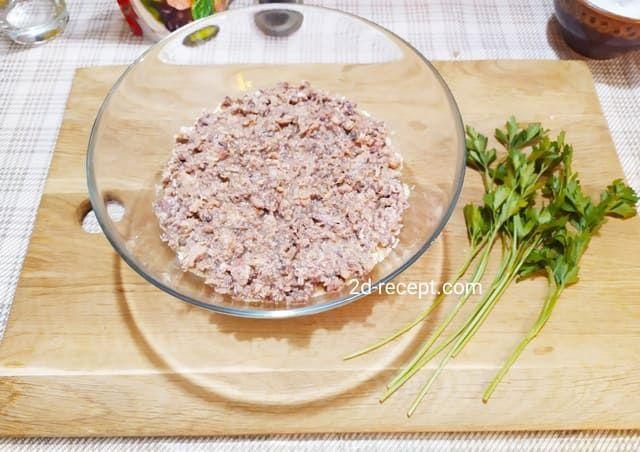Сардина для мимозы, второй слой в салатнике