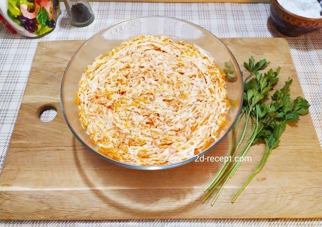 Вареная натертая морковь - 5 слой