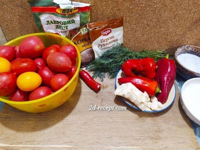 Ингредиенты для квашеных помидоров