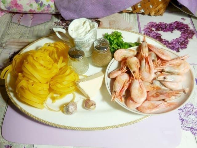Ингредиенты для пасты с креветками