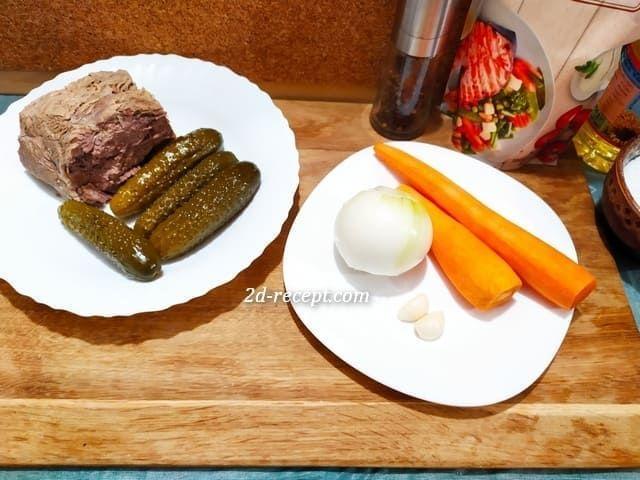 Ингредиенты для салата с говядиной