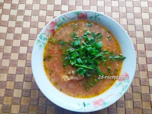 Суп харчо домашний в тарелке с зеленью