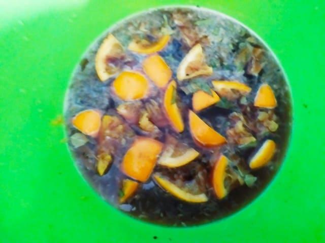 Маринад для утки, смесь из соевого соуса, пива, нарезанного апельсина, соли и специй
