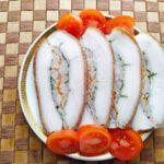 Тонкое сало с фаршем - фото к пошаговому рецепту